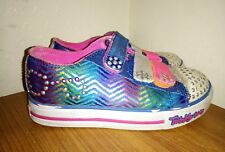 SKECHERS TWINKLE TOES 'POP PRINCESS' BLUE METALLIC TRAINERS UK INF 10.5 FAIR CON