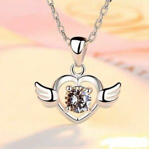 Heart Stone Angel Wing Pendant Necklace 925 Sterling Silver Womens Jewellery New
