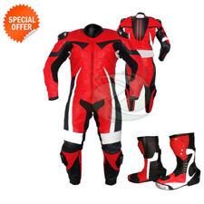 Tute in pelle e altri tessuti da corsa rossa con zip completa per motociclista