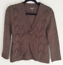 KATIES Ladies Casual Brown Knit Top Cardigan Jumper Sweater Size S