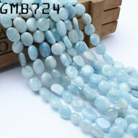 8-10mm Natural Gemstone Freeform Aquamarine Stone Beads for Jewelry Making 15''