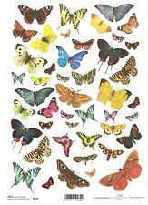 Carta di riso per decoupage scrapbooking, colorate farfalle ITD r230