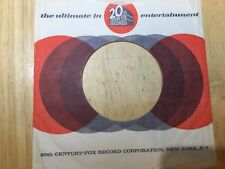 "20TH CENTURY FOX RECORDS COMPANY SLEEVE for 7"" Vinyl VG+"