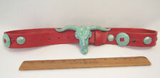 """VINTAGE 1981 BARON TEXAS LONGHORN BUCKLE RED LEATHER BELT 27 3/4"""" to 38 1/4"""""""