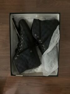 Gucci Black GG Canvas and Leather Lace up High Top Sneakers Men's Size 12