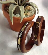 American Eagle Outfitters Wood Bangles With Metal Studs Set-New