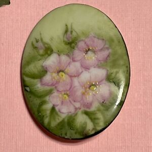 Antique Painted Porcelain Wild Roses Stud Button Oval Shape Floral Pink Green