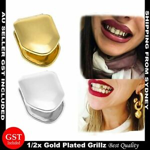 Cool Gold Silver Plated Single Tooth Grillz Teeth Cap Brace  Grill Hip Hop Party