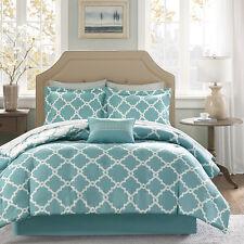 Beautiful Modern Chic Blue Light Aqua White Comforter Set & Sheets King Or Queen