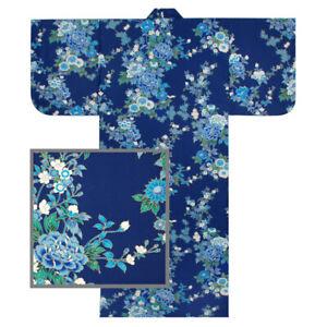 "Japanese Kimono Yukata Robe Women 58"" M Blue Peony Cherry Blossom Made in Japan"