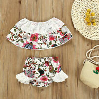 Summer Toddler Baby Girl Off Shoulder Floral Top Shorts 2Pcs Outfits Set Clothes