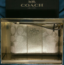 NWT Coach F38655 CornerZip Wristlet Metallic Platinum Gift Box $98 Retail