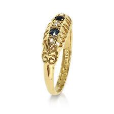 18 CT Yellow Gold Blue Sapphire + Diamond Boat Ring - Size O  (00424)
