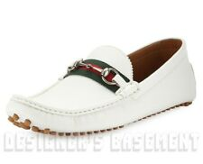GUCCI men 10G* White Pebbled DAMO Horsebit WEB Driving Moccasin shoes NIB Authen