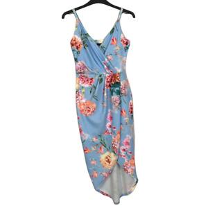 Quiz Size 8 EUR 36 Blue Floral Mid Length Stretch Wedding Guest Prom Party Dress