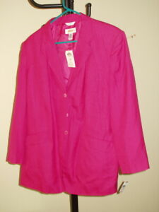 NWT $174 / TALBOTS Womens Size 16W Rayon & Linen Strong Pink Jacket Blazer