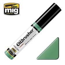 Ammo of Mig Oilbrusher Mecha Light Green - Oil Paint Fine Brush Applicator #3529