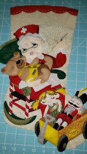 "Finished Bucilla ""North Pole Nurse 18"" Christmas Stocking - Handstitched"