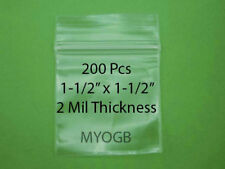 "200pcs 1-1/2"" x 1-1/2"" Zip Lock Plastic Bags-Storage-Jewerly-Parts-Gold Nuggets"