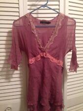 Arden B Luxe Mauve Silk Woman's Blouse Lace Trimmed Empire Waist Ribbon Tie Sz S