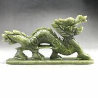 Exquisite GREEN NATURAL JADE HANDMADE SCULPTURE DRAGON Statue RT