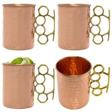 4pk Old Dutch Moscow Mule Hammered Copper Mugs Brass Knuckle Handle 20oz Glasses
