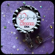 NURSE RN PERSONALIZED Name Bottle Cap ID Badge Holder Lanyard Work Clip Heart
