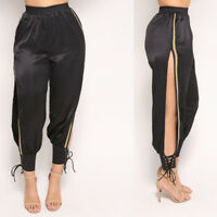 Women bodycon casual slim side gold high slit party club long pants trousers