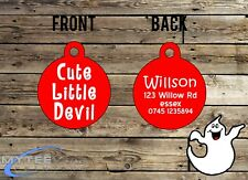 "Halloween Dog ID Collar Tag ""Cute Little Devil"" - Double Sided Pet Charm Tag"