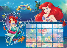 PERSONALISED LITTLE MERMAID REWARD CHART  WITH  MAGNET STRIPS & STAR STICKERS