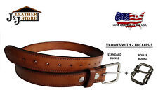 "J&J HEAVY DUTY 1.5"" GENUINE LEATHER CCW GUN CARRY WORK BELT USA HANDMADE - BROWN"