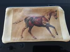 Leather Cosmetic Bag Native American Purse Horse Cowgirls Deer Tan Cowhide