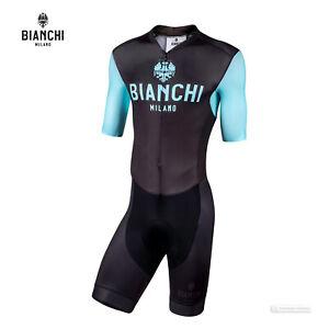 Bianchi Milano TEMO Short Sleeve Skin Suit : BLACK/CELESTE