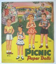 Vintage Picnic Paper Dolls Uncut Book Saalfield Publishing 1952