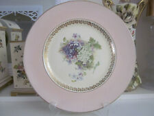 LARGE CLARICE CLIFF NEWPORT POTTERY WHITE AND MAUVE LILACS ON PINK DISPLAY PLATE