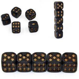 5Pcs Skeleton Black Skull Dice Set Six Sided Toys Game Party Resin Leisure