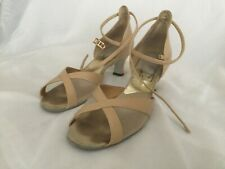 Elegance Women's Ballroom Tan Latin Dance Shoes with Ankle Straps Size 7 1/2 M
