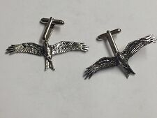 Cufflinks With A Tie Slide Set pewter Red Kite Y45 On A Pair of