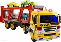 WolVol Friction Powered Transport Car Carrier Truck , Lights & Sounds w/ 4 Cars