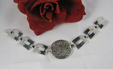 Sterling Silver Ornate Mayan Calender Chunky 28g  Bracelet FERAL CAT RESCUE