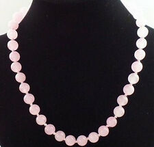 """10MM NATURAL ROSE QUARTZ ROUND GEMSTONE BEADS NECKLACE 18"""" AAA+"""