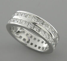 NEW STERLING SILVER CZ FULL ETERNITY WEDDING BAND RING SIZE 6 2 ROW PRINCESS CUT