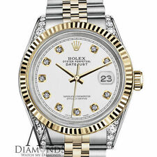 Genuine Rolex 31mm Datejust 18K & SS White Color Diamond Dial with Fluted Bezel