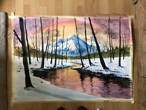 Bob Ross Style Forest Artwork Mountains Painting Large Art Tree Painting