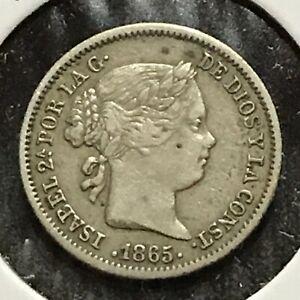 Spain 10 Centimos Silver KM 627.2 XF 1865 7 Point Star