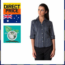3/4 Sleeve Button Down Shirt Regular 100% Cotton Tops & Blouses for Women