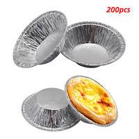 200pcs Round Aluminum Foil Tin Foil Disposable Egg Tart Tray Baking Mold