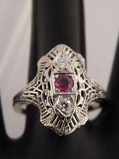 .51 tcw ART DECO Filigree Diamond & High Grade Ruby Ring F/VS 14k Engagement