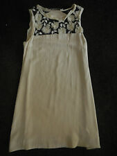 MARNIE SKILLINGS cream silk shift DRESS FROCK w tulle rosettes. S/S10. Size AU10