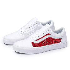 Vans White Old Skool x Red Bandana Pattern Custom Handmade Shoes By Patch Collec